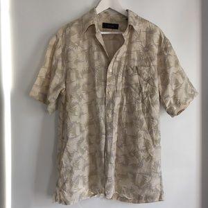 Tasso Elba Silk Blend Floral Printed Shirt -Medium